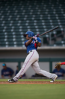 AZL Rangers first baseman Stanley Martinez (29) follows through on his swing during an Arizona League game against the AZL Cubs 2 at Sloan Park on July 7, 2018 in Mesa, Arizona. AZL Rangers defeated AZL Cubs 2 11-2. (Zachary Lucy/Four Seam Images)