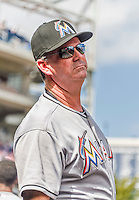 20 September 2015: Miami Marlins Manager Dan Jennings looks out from the dugout prior to a game against the Washington Nationals at Nationals Park in Washington, DC. The Marlins fell to the Nationals 13-3 in the final game of their 4-game series. Mandatory Credit: Ed Wolfstein Photo *** RAW (NEF) Image File Available ***
