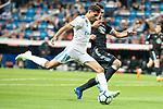 Real Madrid Achraf Hakimi and Celta de Vigo Facundo Roncaglia during La Liga match between Real Madrid and Celta de Vigo at Santiago Bernabeu Stadium in Madrid, Spain. May 12, 2018. (ALTERPHOTOS/Borja B.Hojas)