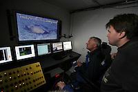 Fredrik Søreide watches as Thor Olav Sperre operates the ROV towards ceramics found on the seaved. ©Fredrik Naumann/Felix Features