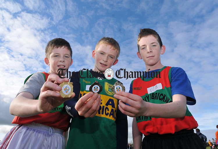 U13 medal winners Ian Queally, Pierce Lillis and Phillip Queally.