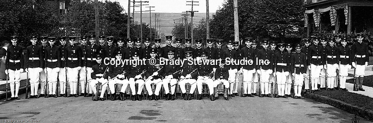 McKeesport PA: View of Boy's Brigade posing for a group photograph. Brady Stewart was part of the Methodist Boy's Brigade of McKeesport. The Boy's Brigade was a church-based youth organization started in the late 1800s in Scotland.