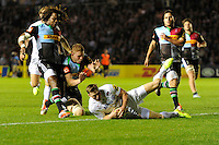 Chris Ashton of Saracens touches down to score a try during the Premiership Rugby Round 2 match between Harlequins and Saracens at The Twickenham Stoop on Friday 12th September 2014 (Photo by Rob Munro)