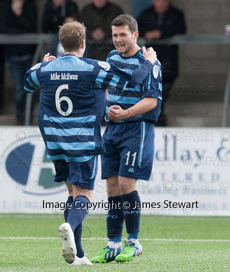 Forfar's Dale Hilson (11) celebrates after he scores from the spot.