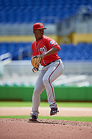 Washington Nationals pitcher Joan Adon (37) delivers a pitch during a Florida Instructional League game against the Miami Marlins on September 26, 2018 at the Marlins Park in Miami, Florida.  (Mike Janes/Four Seam Images)