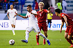 Ahmad Ersan of Jordan (L) fights for the ball with Nguyen Van Toan of Vietnam (R) during the AFC Asian Cup UAE 2019 Round of 16 match between Jordan (JOR) and Vietnam (VIE) at Al Maktoum Stadium on 20 January 2019 in Dubai, United Arab Emirates. Photo by Marcio Rodrigo Machado / Power Sport Images
