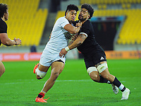 North's Ardie Savea tries to tackle South's Leicester Faingaanuku during the rugby match between North and South at Sky Stadium in Wellington, New Zealand on Saturday, 5 September 2020. Photo: Dave Lintott / lintottphoto.co.nz