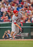 15 August 2017: Los Angeles Angels outfielder Mike Trout in action against the Washington Nationals at Nationals Park in Washington, DC. The Nationals defeated the Angels 3-1 in the first game of their 2-game series. Mandatory Credit: Ed Wolfstein Photo *** RAW (NEF) Image File Available ***