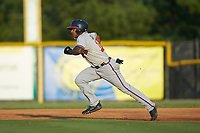 Willie Carter (15) of the Danville Braves takes off for second base during the game against the Burlington Royals at Burlington Athletic Stadium on August 9, 2019 in Burlington, North Carolina. The Royals defeated the Braves 6-0. (Brian Westerholt/Four Seam Images)