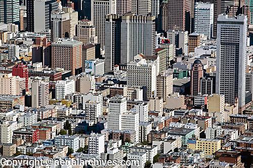 aerial photograph Tenderloin toward downtown San Francisco, California