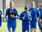 St Johnstone Training….13.09.19     McDiarmid Park, Perth<br />Liam Gordon pictured during this morning's training session ahead of tomorrow's game at Aberdeen alongside Jason Holt and Madis Vihmann<br />Picture by Graeme Hart.<br />Copyright Perthshire Picture Agency<br />Tel: 01738 623350  Mobile: 07990 594431