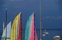 Colorful sails at a beach resort on Corsica island, France.