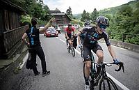 Martin Salmon (DEU/DSM) catching his musette<br /> <br /> 73rd Critérium du Dauphiné 2021 (2.UWT)<br /> Stage 7 from Saint-Martin-le-Vinoux to La Plagne (171km)<br /> <br /> ©kramon