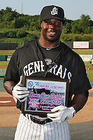 Jackson Generals outfielder Joe Dunigan #15 poses with the Home Run Champion Award before the Southern League All-Star Game  at Smokies Park on June 19, 2012 in Kodak, Tennessee.  The South Division defeated the North Division 6-2. (Tony Farlow/Four Seam Images).