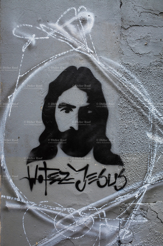France. Ile de France. Paris. A political transgression for the French presidential election candidate with a graffiti of Jesus Christ. Vote Jesus. 22.04.17  © 2017 Didier Ruef