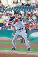 Taylor Jungmann (33) of the Nashville Sounds delivers a pitch to the plate against the Salt Lake Bees in Pacific Coast League action at Smith's Ballpark on June 23, 2014 in Salt Lake City, Utah.  (Stephen Smith/Four Seam Images)