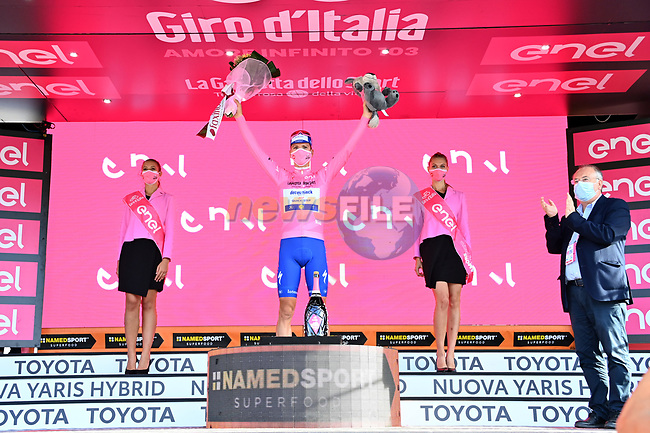 Race leader Joao Almeida (POR) Deceuninck-Quick Step retains the Maglia Rosa at the end of Stage 7 of the 103rd edition of the Giro d'Italia 2020 running 143km from Matera to Brindisi, Sicily, Italy. 9th October 2020.  <br /> Picture: LaPresse/Gian Mattia D'Alberto | Cyclefile<br /> <br /> All photos usage must carry mandatory copyright credit (© Cyclefile | LaPresse/Gian Mattia D'Alberto)