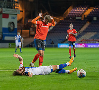 """Blackburn Rovers' Ben Brereton (right) was not fouled by Luton Town's Martin Cranie (left) resulting in getting a yellow card for """"Simulation""""<br /> <br /> Photographer David Horton/CameraSport<br /> <br /> The EFL Sky Bet Championship - Luton Town v Blackburn Rovers - Saturday 21st November 2020 - Kenilworth Road - Luton<br /> <br /> World Copyright © 2020 CameraSport. All rights reserved. 43 Linden Ave. Countesthorpe. Leicester. England. LE8 5PG - Tel: +44 (0) 116 277 4147 - admin@camerasport.com - www.camerasport.com"""