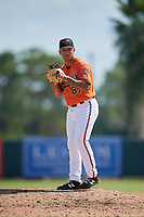 Baltimore Orioles pitcher J.J. Montgomery (87) gets ready to deliver a pitch during a Florida Instructional League game against the Philadelphia Phillies on October 4, 2018 at Ed Smith Stadium in Sarasota, Florida.  (Mike Janes/Four Seam Images)