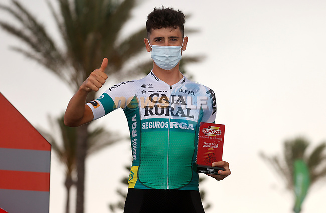 Julen Amezqueta (ESP) Caja Rural–Seguros RGA most aggressive rider from yesterday's stage at sign on before the start of Stage 10 of La Vuelta d'Espana 2021, running 189km from Roquetas de Mar to Rincón de la Victoria, Spain. 24th August 2021.     <br /> Picture: Luis Angel Gomez/Photogomezsport | Cyclefile<br /> <br /> All photos usage must carry mandatory copyright credit (© Cyclefile | Luis Angel Gomez/Photogomezsport)