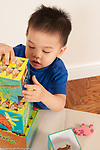 2 year old toddler boyl Asian Chinese American playing with stacking nesting blocks making tower vertical