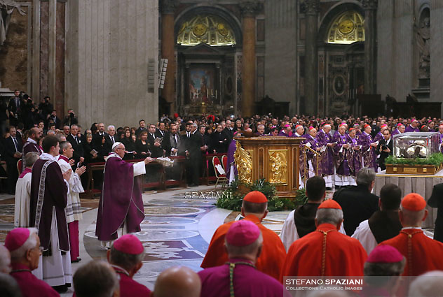 Pope Francis leads the mass for Ash Wednesday, opening Lent, the forty-day period of abstinence and deprivation for the Christians, before the Holy Week and Easter on February,10, 2016