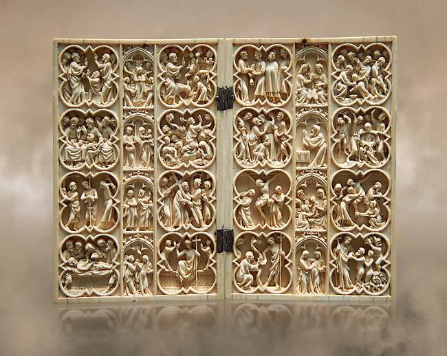 Medieval Gothic ivory diptych with scenes from the life of Christ and the Virgin made in Paris around 1370-1380.  inv 4089, The Louvre Museum, Paris.