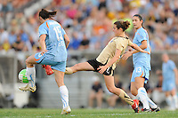 Kelley O'Hara (7) of FC Gold Pride stretches for a ball. FC Gold Pride defeated Sky Blue FC 1-0 during a Women's Professional Soccer (WPS) match at Yurcak Field in Piscataway, NJ, on May 1, 2010.