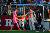 Sky Blue FC head coach Jim Gabarra greets Adriana (8) as she is subbed out of the game. The Western New York Flash defeated Sky Blue FC 2-0 during a Women's Professional Soccer (WPS) match at Yurcak Field in Piscataway, NJ, on July 17, 2011.