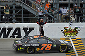Monster Energy NASCAR Cup Series<br /> Tales of the Turtles 400<br /> Chicagoland Speedway, Joliet, IL USA<br /> Sunday 17 September 2017<br /> Martin Truex Jr, Furniture Row Racing, Furniture Row/Denver Mattress Toyota Camry celebrates after winning<br /> World Copyright: Logan Whitton<br /> LAT Images