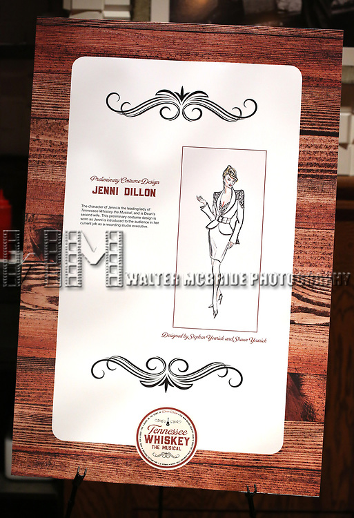 Preliminary Costume Designs Art during the Dean Dillon in concert to launch 'Tennessee Whiskey' The New Musical based on his life at The Studio at Opry City Stage on May 12, 2018 in New York City.