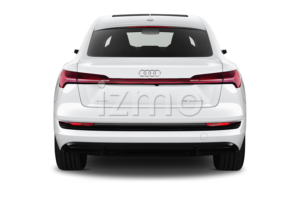 Straight rear view of 2020 Audi e-tron-Sportback S-Line 5 Door SUV Rear View  stock images
