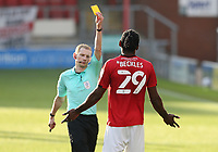 Crewe Alexandra's Omar Beckles is shown a yellow card by referee Peter Wright for his foul on Blackpool's CJ Hamilton<br /> <br /> Photographer Rich Linley/CameraSport<br /> <br /> The EFL Sky Bet League One - Crewe Alexandra v Blackpool - Saturday 17th October 2020 - Gresty Road - Crewe<br /> <br /> World Copyright © 2020 CameraSport. All rights reserved. 43 Linden Ave. Countesthorpe. Leicester. England. LE8 5PG - Tel: +44 (0) 116 277 4147 - admin@camerasport.com - www.camerasport.com