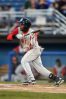 Brooklyn Cyclones outfielder John Mora (26) squares to bunt during a game against the Batavia Muckdogs on August 9, 2014 at Dwyer Stadium in Batavia, New York.  Batavia defeated Brooklyn 4-2.  (Mike Janes/Four Seam Images)
