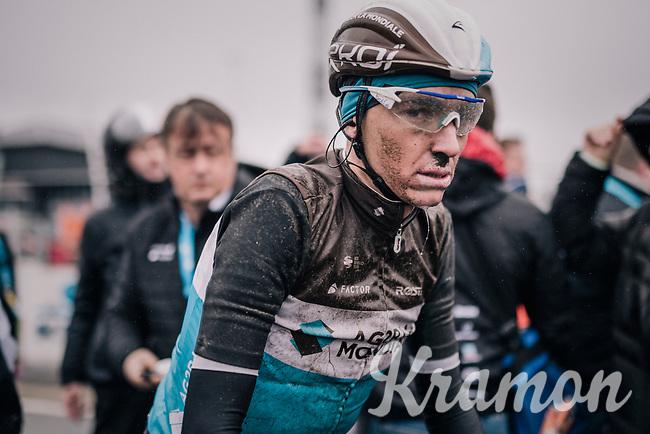 Romain Bardet's (FRA/AG2R-La Mondiale) post-race face<br /> <br /> 73rd Dwars Door Vlaanderen 2018 (1.UWT)<br /> Roeselare - Waregem (BEL): 180km
