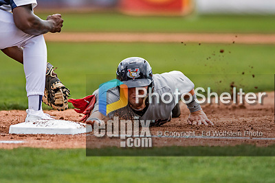 21 July 2019: Tri-City ValleyCat catcher Korey Lee dives safely back to first on a pick-off attempt in the second inning against the Vermont Lake Monsters at Centennial Field in Burlington, Vermont. The Lake Monsters rallied to defeat the ValleyCats 6-3 in NY Penn League play. Mandatory Credit: Ed Wolfstein Photo *** RAW (NEF) Image File Available ***