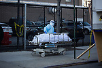 A healthcare worker wheels a deceased person to a refrigerated trailer serving as a temporary morgue outside of Wyckoff Heights Medical Center during the coronavirus pandemic on April 6, 2020 in New York City.  More than 10,000 people have died from COVID-19 in the U.S..  Photograph by Michael Nagle