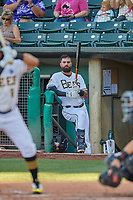 Kaleb Cowart (24) of the Salt Lake Bees waits in the dugout during the game against the El Paso Chihuahuas at Smith's Ballpark on August 17, 2019 in Salt Lake City, Utah. The Bees defeated the Chihuahuas 5-4. (Stephen Smith/Four Seam Images)