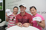 Justin Rose of England answers questions and signs autographs for fans in UBS pavilion during Hong Kong Open golf tournament at the Fanling golf course on 23 October 2015 in Hong Kong, China. Photo by Moses Ng / Power Sport Images