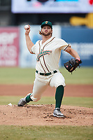 Greensboro Grasshoppers starting pitcher Carmen Mlodzinski (45) in action against the Rome Braves at First National Bank Field on May 16, 2021 in Greensboro, North Carolina. (Brian Westerholt/Four Seam Images)