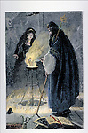 Man and woman sorcerers conjuring a hand