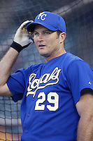 Mike Sweeney of the Kansas City Royals before a 2002 MLB season game against the Los Angeles Angels at Angel Stadium, in Anaheim, California. (Larry Goren/Four Seam Images)
