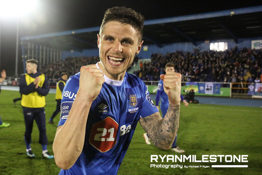 Gavan Holohan of Waterford celebrates at the end of the  SSE Airtricity League Premier Division game between Waterford FC and Cork City on Friday 6th April 2018 at The RSC, Waterford. Photo By Michael P Ryan