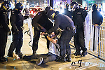 © Joel Goodman - 07973 332324 . 09/08/2011 . Manchester , UK . Police detain a man in Piccadilly , as disorder spreads to Manchester during a 4th night of rioting and looting , following a protest against the police shooting of Mark Duggan in Tottenham . Photo credit : Joel Goodman