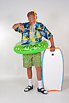 Beach dad, the embarrasment at the beach.  You never know what might wash up. Shot in studio 2009 (Photo/Joe Giblin) Model Release on File