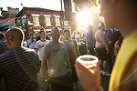 © Joel Goodman - 07973 332324 - all rights reserved . 25/08/2019. Manchester, UK. People on Canal Street , as temperatures of over 30 degrees centigrade are recorded . Revellers in Manchester's Gay Village during the city's annual Gay Pride festival , which celebrates LGBTQ+ life and is the largest of its type in Europe . Photo credit : Joel Goodman