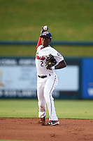 Fort Myers Miracle shortstop Nick Gordon (2) throws to first during a game against the Brevard County Manatees on April 13, 2016 at Hammond Stadium in Fort Myers, Florida.  Fort Myers defeated Brevard County 3-0.  (Mike Janes/Four Seam Images)