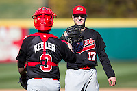 Dustin Quattrocchi (17) of the Southern Illinois University- Edwardsville Cougars celebrates with Brett Keeler (3) after beating the Missouri State Bears at  Hammons Field on March 10, 2012 in Springfield, Missouri. (David Welker / Four Seam Images)