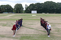 Players observe a one minute silence in memory of Sam Pountney during Wanstead and Snaresbrook CC vs Brentwood CC, Shepherd Neame Essex League Cricket at Overton Drive on 13th July 2019