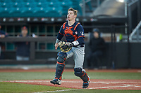 Illinois Fighting Illini catcher JacobCampbell (9) tracks a pop fly during the game against the Coastal Carolina Chanticleers at Springs Brooks Stadium on February 22, 2020 in Conway, South Carolina. The Fighting Illini defeated the Chanticleers 5-2. (Brian Westerholt/Four Seam Images)